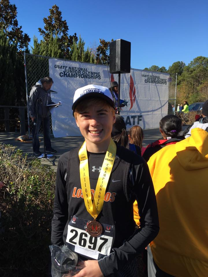 Jeremy Wins 4th place for the NATIONAL Jr. Olympic XC! Hip Hip Hooray! 12/10/16